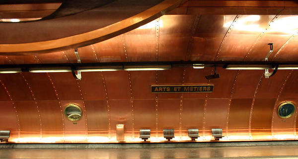 Print featuring the photograph Arts Et Metiers Metro by A Morddel