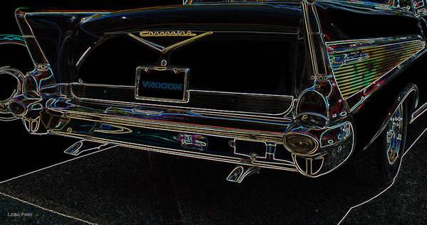 1957 Art Print featuring the photograph 1957 Chevrolet Rear View Art Black_varooom Tag by Lesa Fine