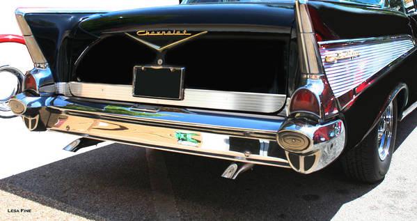 1957 Art Print featuring the photograph 1957 Chevy Rear View Car Art by Lesa Fine