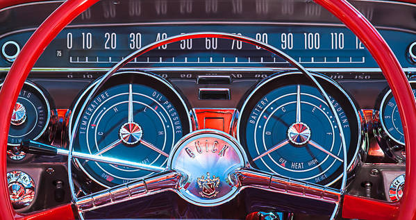 Car Art Print featuring the photograph 1959 Buick Lesabre Steering Wheel by Jill Reger