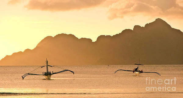 Sunset Art Print featuring the photograph Bangkas by Delphimages Photo Creations