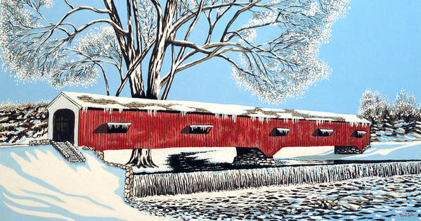 Coveredbridges Art Print featuring the painting Blankets Of Winter by David Linton