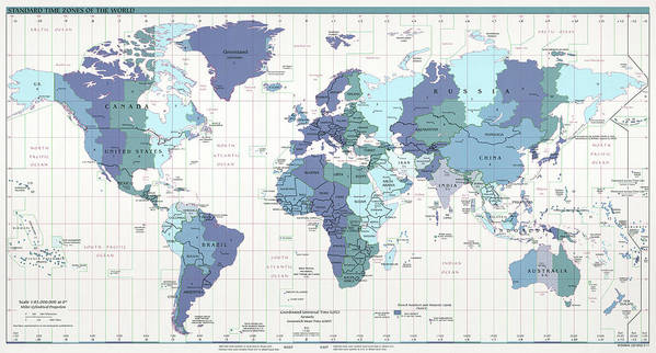 C I A World Map With Time Zones Art Print