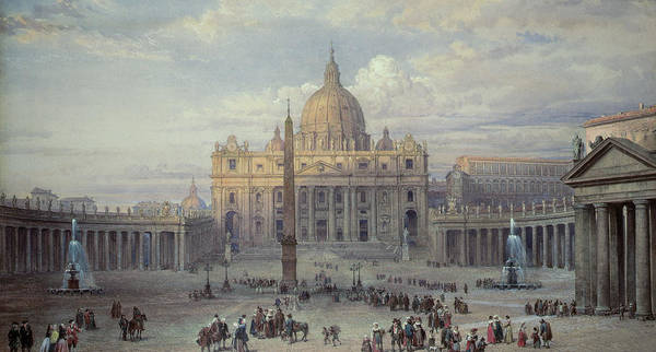 Saint Peters Art Print featuring the painting Exterior Of St Peters In Rome From The Piazza by Louis Haghe