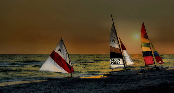 Boaters At Sunset At Longboat Key Florida. Art Print featuring the photograph Free Spirits by William Griffin