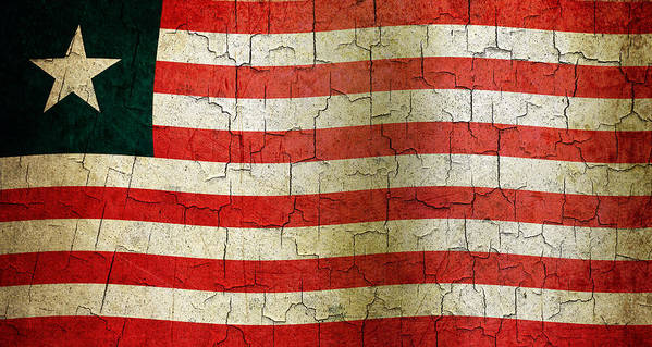 Aged Art Print featuring the digital art Grunge Liberia Flag by Steve Ball