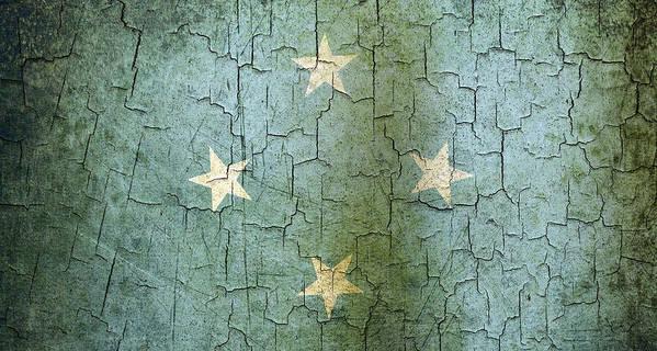 Aged Art Print featuring the digital art Grunge Micronesia Flag by Steve Ball