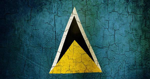Aged Art Print featuring the digital art Grunge Saint Lucia Flag by Steve Ball