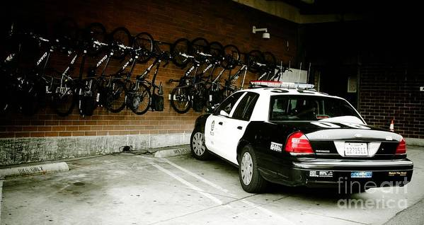 Lapd Cruiser And Police Bikes Art Print featuring the photograph Lapd Cruiser And Police Bikes by Nina Prommer