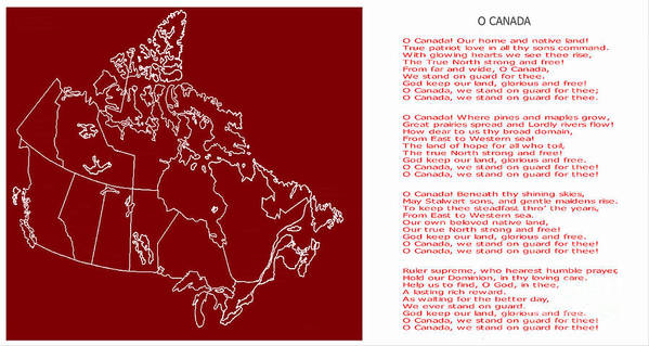 O Canada Lyrics And Map Art Print by Barbara Griffin on