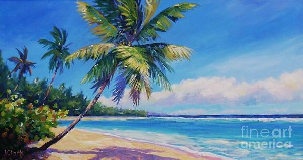 Cayman Art Print featuring the painting Palms On Tortola by John Clark