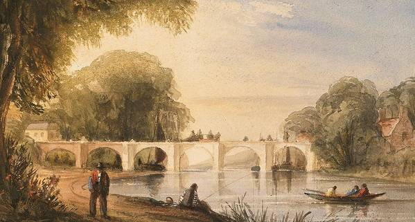 River Art Print featuring the painting River Scene With Bridge Of Six Arches by Robert Hindmarsh Grundy