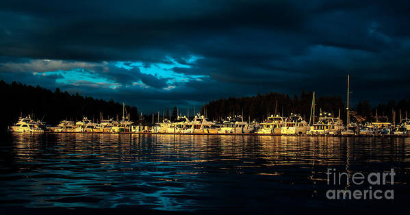 Roche Harbor Art Print featuring the photograph Roche Harbor At Sunset by Robert Bales