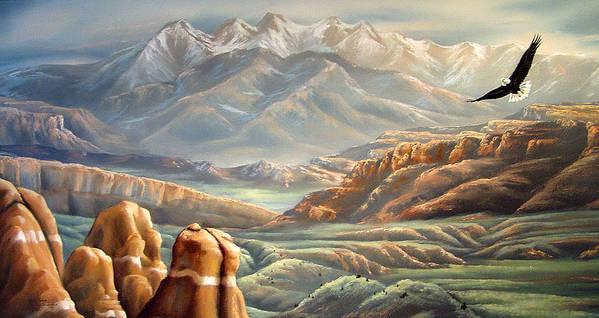 La Salle Mountains In Utah Art Print featuring the painting Soaring Through The Heavens by Lori Salisbury