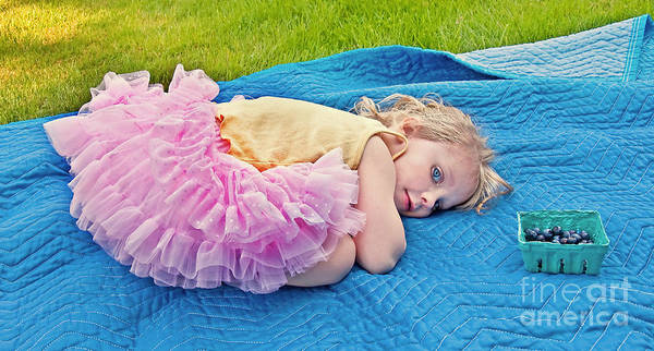 3 Year Old Girl Print featuring the photograph Summer Rest With Blueberries by Valerie Garner