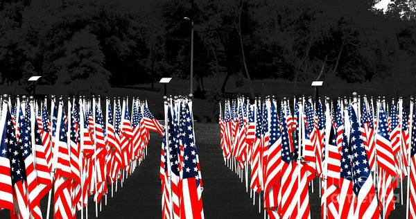 Fayetteville Art Print featuring the photograph American Flags by Papote Detres