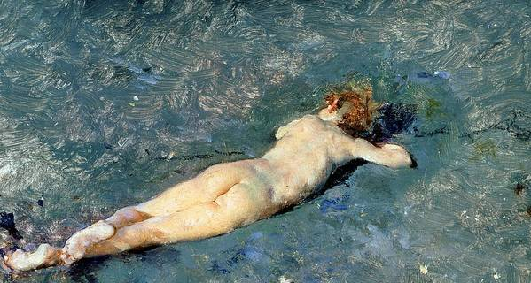 Nude Art Print featuring the painting Beach At Portici by Mariano Fortuny y Marsal