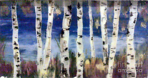 Reverse Painting Art Print featuring the painting Birches by Cathy Weaver
