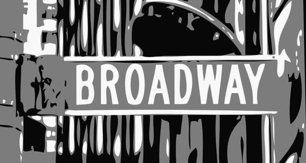 New York Broadway Sign Art Print featuring the photograph Broadway Sign Color Bw3 by Scott Kelley