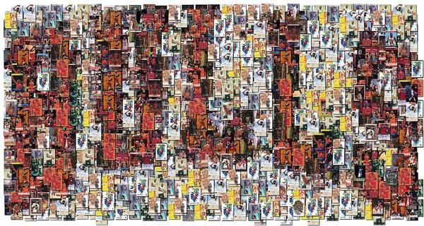 Chicago Bulls Print featuring the photograph Chicago Bulls Michael Jordan Cards Mosaic by Paul Van Scott