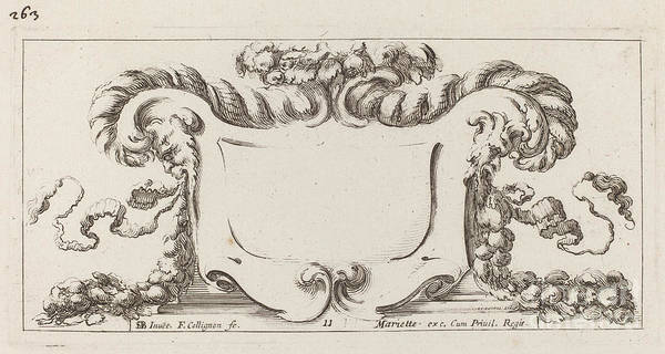 Art Print featuring the drawing Cartouche by Fran?ois Collignon After Stefano Della Bella