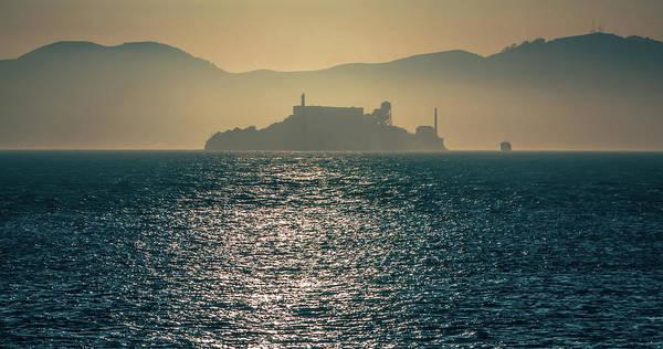 Island Art Print featuring the photograph Alcatraz Island Prison San Francisco Bay At Sunset by Alex Grichenko