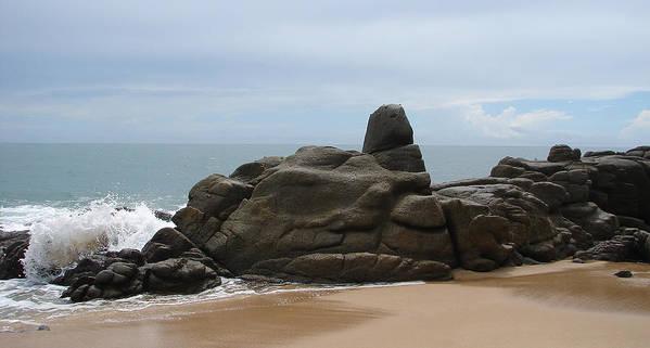 Ocean Sky Sand Rock Art Print featuring the photograph At The Beach by Luciana Seymour