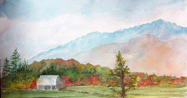 Fall In The Mountains Art Print featuring the painting Autumn Colors by Kris Dixon