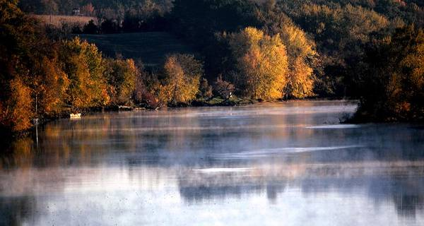 Autumn Art Print featuring the photograph Autumn On Wisconsin River by Karen Majkrzak