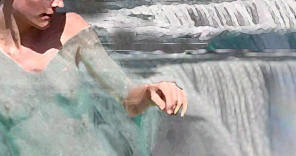 Waterscape Art Print featuring the digital art Cascade by Steve Karol