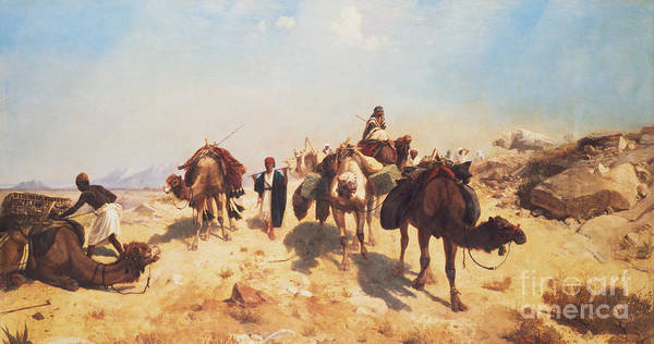 Crossing Art Print featuring the painting Crossing The Desert by Jean Leon Gerome
