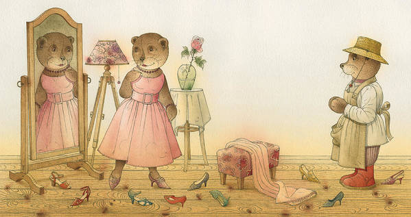 Love Flirt Glamour Bears Amour Rose Fashion Art Print featuring the painting Florentius The Gardener16 by Kestutis Kasparavicius