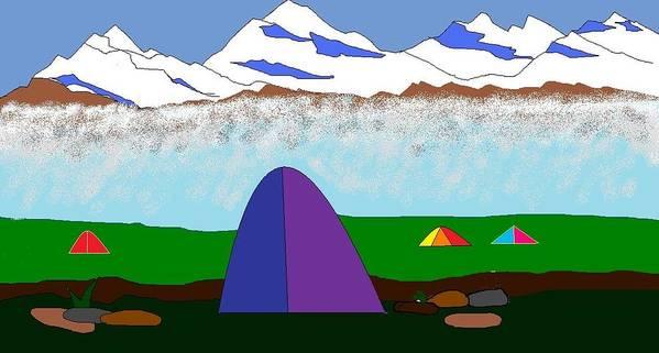 Mountains Art Print featuring the digital art Himalayas by Kiran B