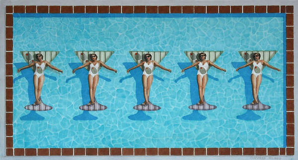 Pool Art Print featuring the painting Martini Girls by Cory Clifford
