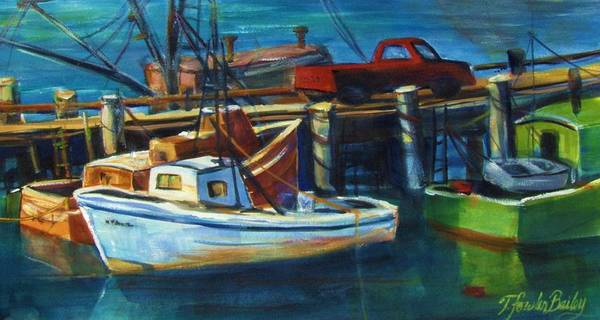 Morro Rock Art Print featuring the painting Red Truck On Old Morro Bay Pier by Therese Fowler-Bailey