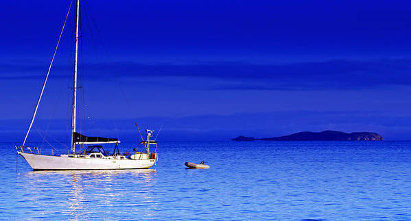 Transportation. Boats Art Print featuring the photograph Serene Seas by Holly Kempe