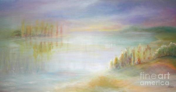Landscape Art Print featuring the painting Somewhere And Nowhere by Vivian Mosley