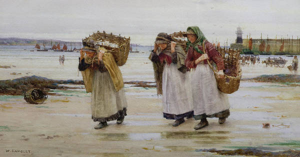 Signed Art Print featuring the painting The Breadwinners Or Newlyn Fishwives by Walter Langley