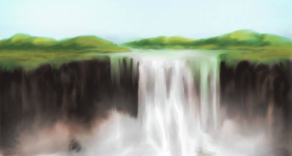 Water Art Print featuring the painting Waterfall Study 1 by James Leonard