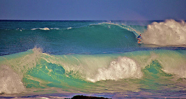 Surfer Art Print featuring the photograph Waves And Surfer In Morning Light 2 by Bette Phelan