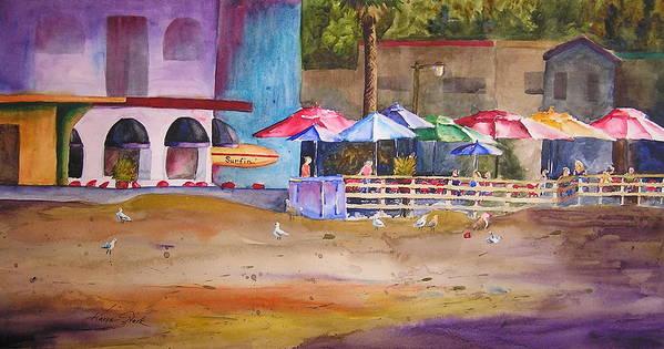 Umbrella Art Print featuring the painting Zelda's Umbrellas by Karen Stark