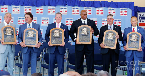 American League Baseball Art Print featuring the photograph 2014 Baseball Hall Of Fame Induction by Jim Mcisaac
