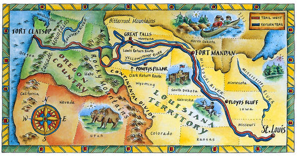 photo about Lewis and Clark Printable Map referred to as Lewis Clark Expedition Map Artwork Print