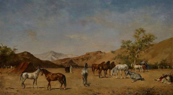 Arabian; Arabia; Middle East; Middle Eastern; Landscape; Desert; Horses; Horse; Mountains; Mountainous; Arid; Wilderness; Camp; Encampment; Travel; Travellers; Tent; Tents; Journey Art Print featuring the painting An Arabian Camp by Eugene Fromentin