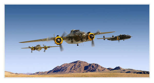 B-25 Mitchell Bomber Framed Prints Art Print featuring the photograph B-25 Mitchell Bomber by Larry McManus