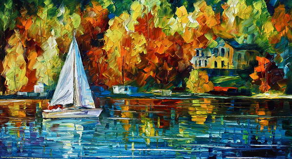 Boat Art Print featuring the painting By The Rivershore by Leonid Afremov