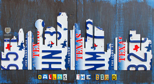 License Plate Map Art Print featuring the mixed media Dallas Texas Skyline License Plate Art By Design Turnpike by Design Turnpike