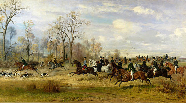 Hound Art Print featuring the painting Emperor Franz Joseph I Of Austria Hunting To Hounds With The Countess Larisch In Silesia by Emil Adam
