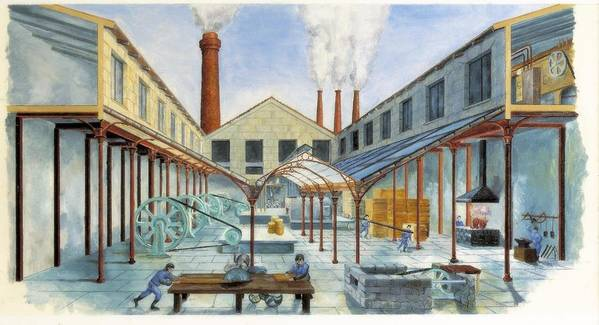 Horizontal Art Print featuring the photograph Industrial Revolution 19th C.. Factiry by Everett