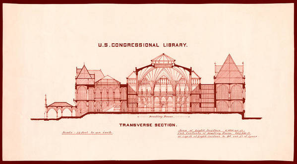 Library Of Congress Art Print featuring the drawing Library Of Congress Design 1877 by Mountain Dreams